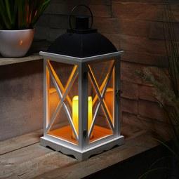 Laterne inkl. LED-Kerze H ca.50cm 'Henric' - Schwarz/Weiß, MODERN, Glas/Holz (23/23/50cm) - Bessagi Home