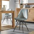 Stuhl aus Samt in Grün/Schwarz - Schwarz/Grün, MODERN, Textil/Metall (48/86/55,5cm) - Modern Living