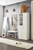 Garderobna Klop Ellie - bela/krom, Moderno, kovina/tekstil (80/30/52cm) - Mömax modern living
