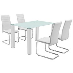 Étkezőgarnitúra Bregenz - Króm/Fehér, modern, Műanyag/Üveg (120/75/80cm)