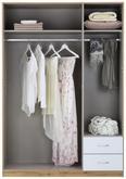 Kleiderschrank Weiß/Eiche - Eichefarben/Alufarben, MODERN, Holz/Holzwerkstoff (135/197/54cm) - Modern Living