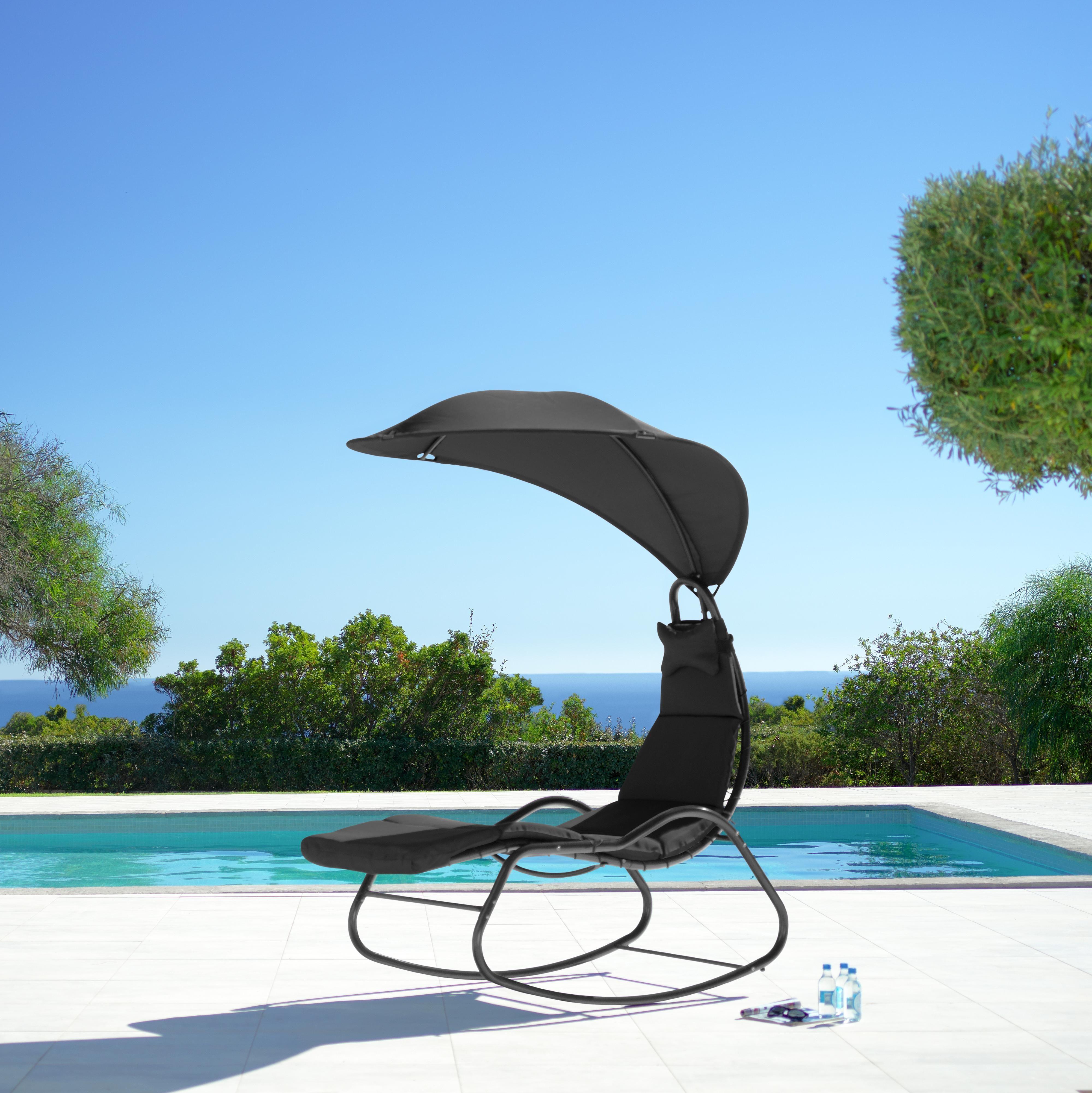 Relaxsessel Cori inkl. Auflage, Kissen & Dach - Dunkelgrau, MODERN, Textil/Metall (78-120/204/160cm) - Modern Living