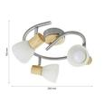 Deckenleuchte max. 3 Watt 'Dayana' - Eichefarben/Nickelfarben, MODERN, Glas/Holz (25/15,5cm) - Bessagi Home