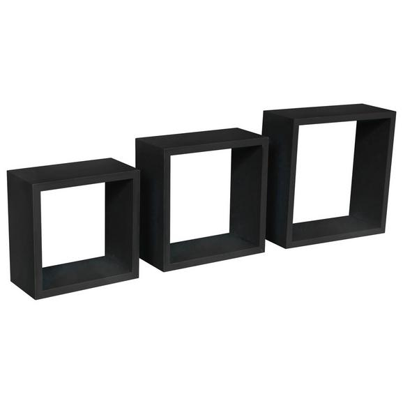 Raft De Perete Simple 3 - negru, Modern, plastic/compozit lemnos (30-27-24/30-27-24/12cm)