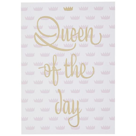 Postkarte Queen of the day - Goldfarben/Rosa, MODERN, Papier (10,5/14,8cm)