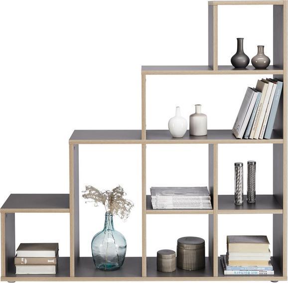 Raumteiler Grau/Eichefarben - Eichefarben/Schwarz, Holzwerkstoff (148/148/33cm) - Mömax modern living