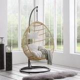 Hängesessel Eleni - Weiß/Naturfarben, MODERN, Holz/Kunststoff (97/196/63cm) - Modern Living