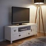 TV-Element in Weiß 'Lewis Vintage' - Weiß, MODERN, Holz/Metall (124/45/34cm) - Bessagi Home