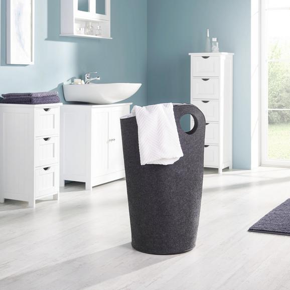 Wäschekorb Amira - Dunkelgrau, MODERN, Textil (45/31/68cm) - Mömax modern living