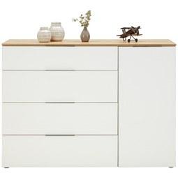 Kommode in Weiß - Chromfarben/Eichefarben, MODERN, Glas/Holzwerkstoff (135,3/99,8/40cm) - Premium Living