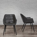 Armlehnstuhl Ares - Dunkelgrau/Schwarz, MODERN, Textil/Metall (58/81/65,5cm) - Modern Living