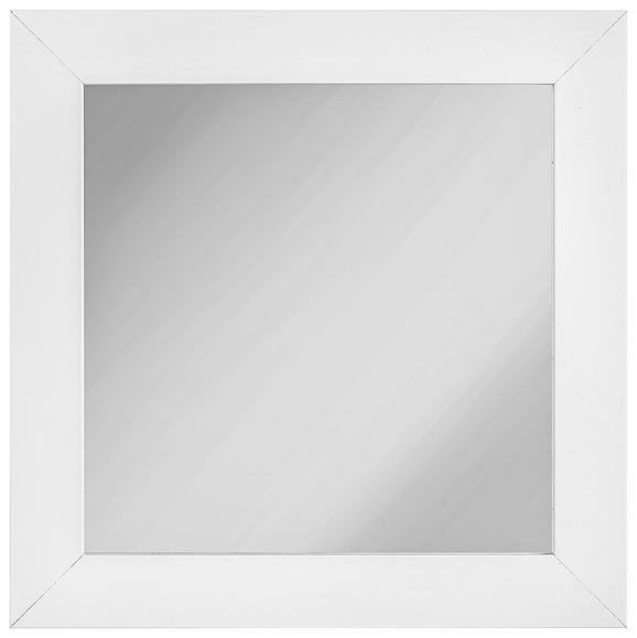 Stensko Ogledalo White Shine - bela, Moderno, steklo/leseni material (30/30cm)