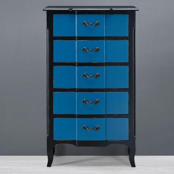 Kommode Liam Cai - Blau/Schwarz, Holz/Metall (70/120/40cm) - Premium Living