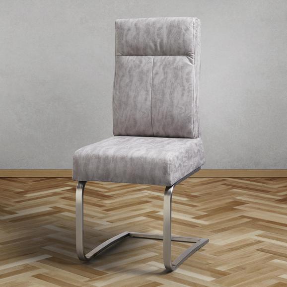 Stuhl Tobias - Hellgrau, MODERN, Textil/Metall (44,5/101/55cm) - Modern Living