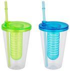 Ivópohár Szívószállal Fabio - Pink/Piros, Műanyag (10/17,5cm)