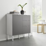 UNTERSCHRANK Grau/Weiß 'Bianco' - Weiß/Grau, MODERN, Holz/Metall (90/86,50/35cm) - Bessagi Home