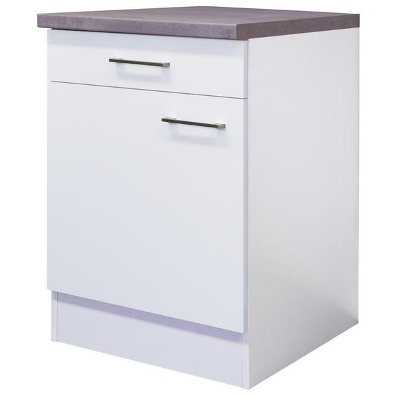Küchenunterschrank Weiß - Edelstahlfarben/Weiß, MODERN, Holzwerkstoff/Metall (60/86/60cm) - FlexWell.ai