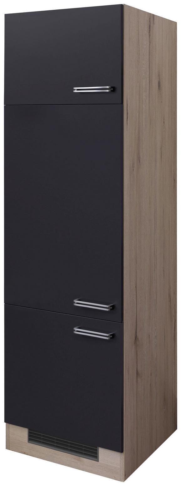 Geräteumbauschrank Anthrazit/Eiche - Edelstahlfarben/Eichefarben, MODERN, Holzwerkstoff/Metall (60/200/57cm)