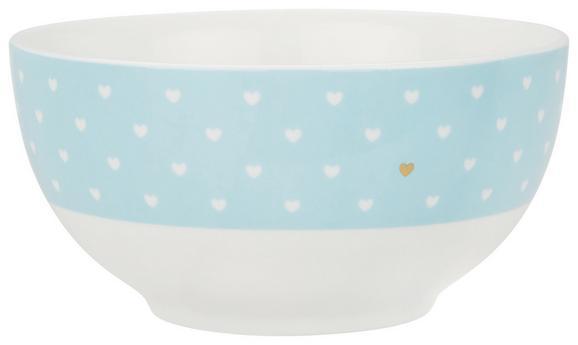 Müslischale Lea in Weiß/Blau - Blau/Goldfarben, ROMANTIK / LANDHAUS, Keramik (14cm) - MÖMAX modern living