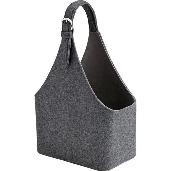 Korb Fahid in Grau ca. 30x18x45 cm - Dunkelgrau, Textil (30/18/45cm) - Bessagi Home