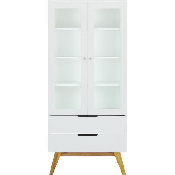 Vitrine in Weiß - Eichefarben/Weiß, MODERN, Glas/Holz (85/190/45cm) - Zandiara
