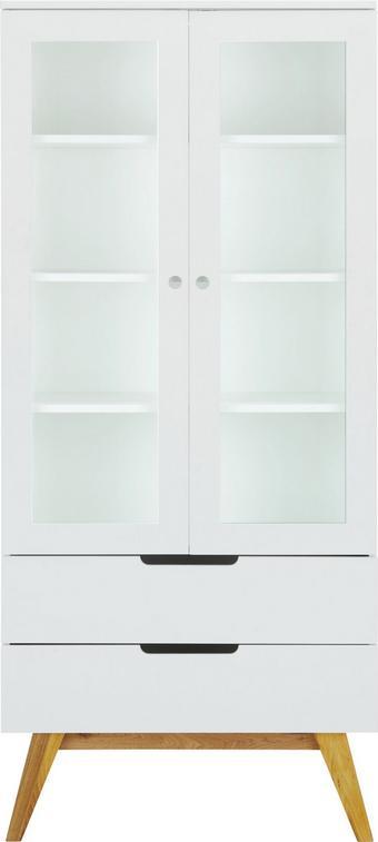 Vitrine Weiß/Braun - Braun/Weiß, MODERN, Glas/Holz (85/190/45cm) - ZANDIARA