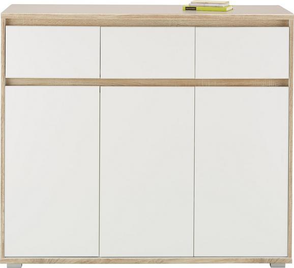 Sideboard Weiß/Eiche - Silberfarben/Weiß, MODERN, Holzwerkstoff (118/103/48cm) - Mömax modern living