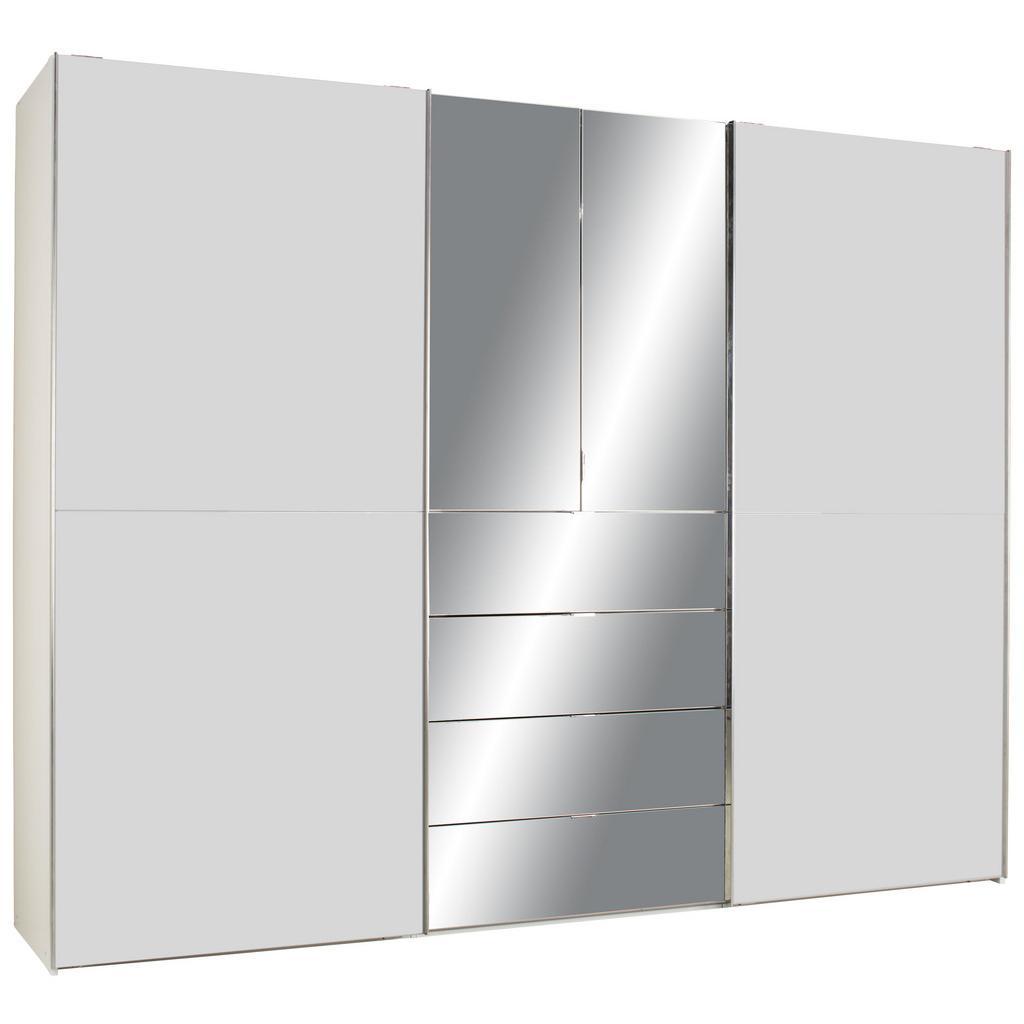 Kombischrank Weiß/Silbergrauglas