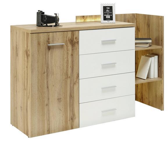 Kommode Weiß/Eichefarben - Eichefarben/Alufarben, ROMANTIK / LANDHAUS, Holzwerkstoff/Kunststoff (142/95/48cm) - Premium Living