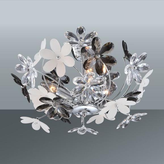 Stropna Svetilka Rosi - siva/bela, Romantika, kovina/umetna masa (46/27cm)