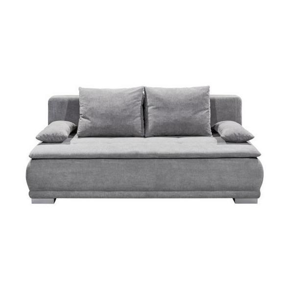 Sofa mit Schlaffunktion in Hellgrau 'Luigi LUX.3DL' - Schlammfarben/Silberfarben, MODERN, Holzwerkstoff/Kunststoff (208/93/105cm) - Livetastic