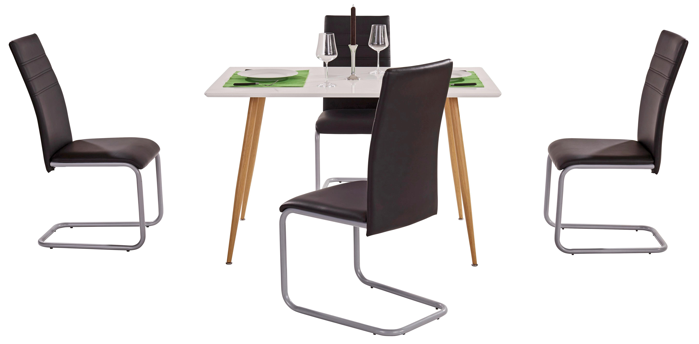 Étkezőasztal Sven 120 - tölgy színű/fehér, modern, fém/faanyagok (120/76/80cm)